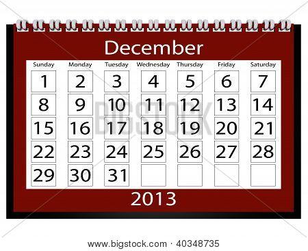 3D Render 2013 Calendar December