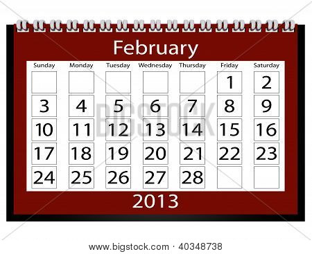 3D Render 2013 Calendar February