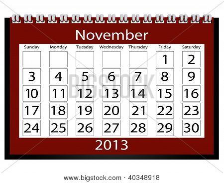 3D Render 2013 Calendar November