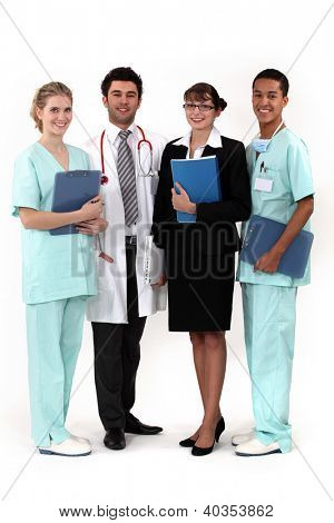 hospital workers posing together
