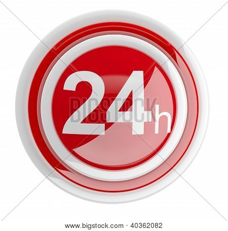 24 Hours. 3D Icon Isolated On White