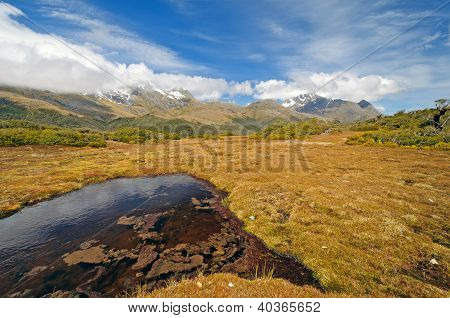 Meadow And Mountains On A Remote Plateau