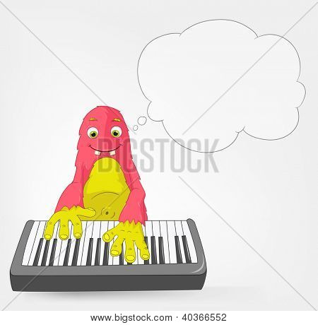 Cartoon Character Funny Monster Isolated on Grey Gradient Background. Pianist. Vector EPS 10.