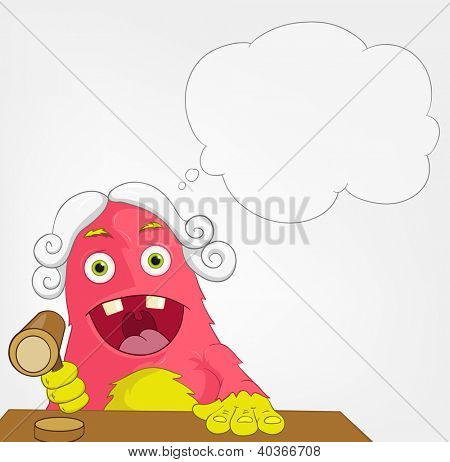 Cartoon Character Funny Monster on Grey Gradient Background. Judge. Vector EPS 10.