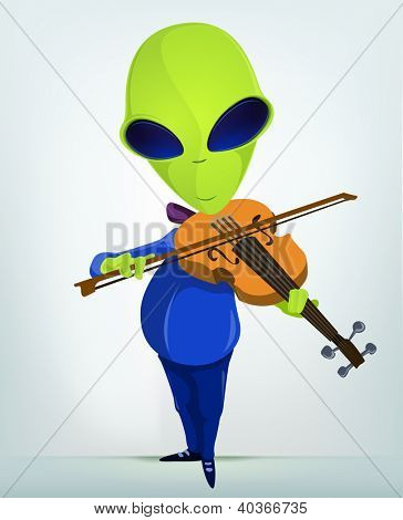 Cartoon Character Funny Alien Isolated on Grey Gradient Background. Violinist. Vector EPS 10.