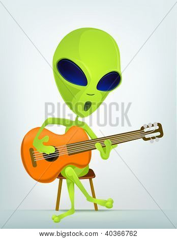 Cartoon Character Funny Alien Isolated on Grey Gradient Background. Guitarist. Vector EPS 10.