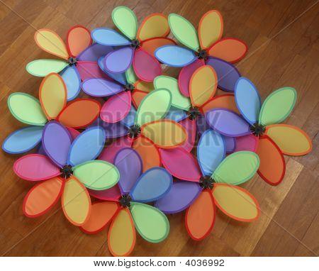 Multi Colored Windmills Or Pinwheels