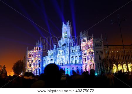 Light Show In Cibeles Square, Madrid