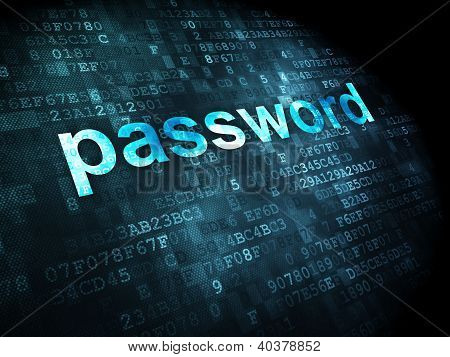 Information concept: password on digital background