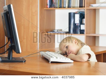 Small Kid With Computer