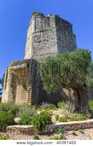 Roman Tower In Nimes, Provence, France