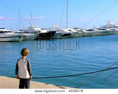 Boy And Yachts In A Marina