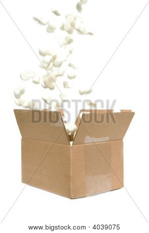 Filling Shipping Peanuts In A Box