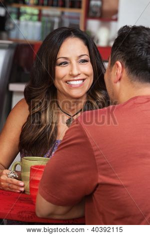 Lady With Male Friend In Cafe