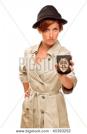 Female Detective With Official Badge In Trench Coat Isolated on a White Background.