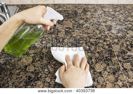 Spray Bottle With Cleaning Solution For Kitchen Duites