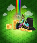stock photo of st patty  - Illustration of St Patricks day background with coins and fairy - JPG