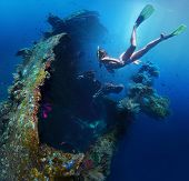 pic of bottomless  - Underwater shoot of a woman exploring USAT Liberty wreck on a breath hold - JPG