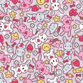 foto of kawaii  - Seamless kawaii child pattern with cute doodles - JPG
