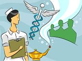 image of clip-art staff  - Cartoon Illustration of a Woman Nurse - JPG