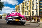 HAVANA-DECEMBER 14:Vintage Chevrolet parked in front of the Central Park hotel December 14,2012 in H