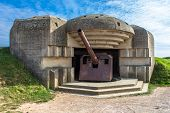 image of emplacements  - German gun emplacement at Omaha beach in Normandy  - JPG