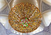 ABU DHABI, UNITED ARAB EMIRATES - NOVEMBER 28:  Chandelier inside Sheikh Zayed Grand Mosque on Novem