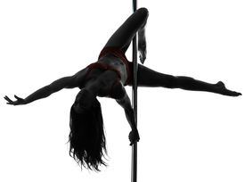 stock photo of lap dancing  - one caucasian woman pole dancer dancing in silhouette studio isolated on white background - JPG