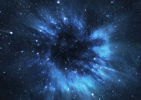 stock photo of distort  - A picture of black hole engulfing nearby stars and distorting the space around it - JPG