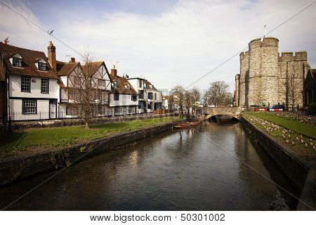 Riverside scenery on the River Stour at Canterbury Kent England UK