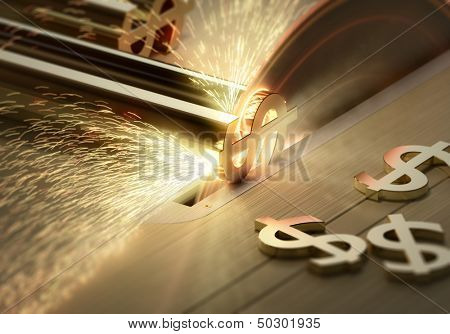 Making Money  -  Conceptual - Table saw cutting dollar signs - 3d render with motion blur and selective focus
