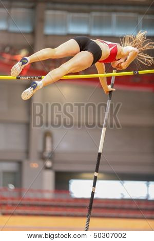 VIENNA, AUSTRIA - JANUARY 29 Line Kloster (#355 Norway) places 3rd in the women's pole vault event on January 29, 2013 in Vienna, Austria.