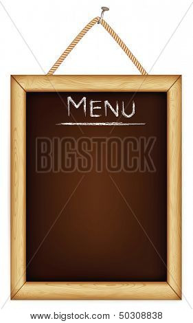 wooden menu board. Rasterized illustration.