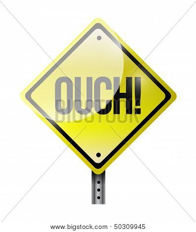 Ouch Road Sign Illustration Design