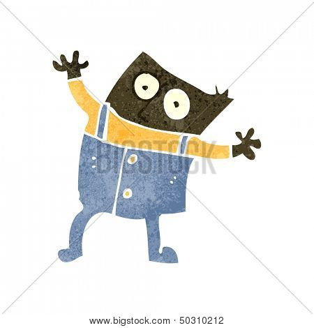 retro cartoon boy in dungarees