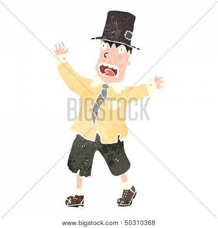 retro cartoon tramp in top hat