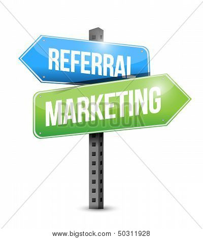 Referral Marketing Road Sign Illustration
