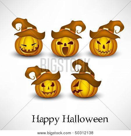 Halloween pumpkins wearing witch hat in various mood on abstract grey background.