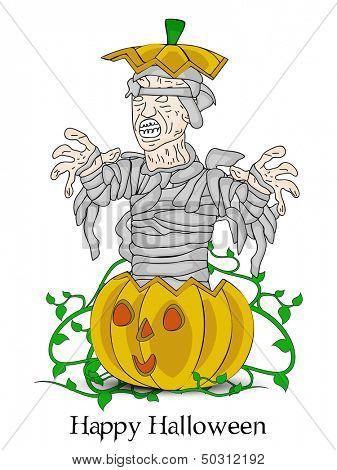 Zombie coming out from a pumpkin, can be use as flyer, banner or poster for Night parties.