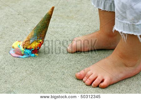 Dropped Ice Cream Cone By Feet