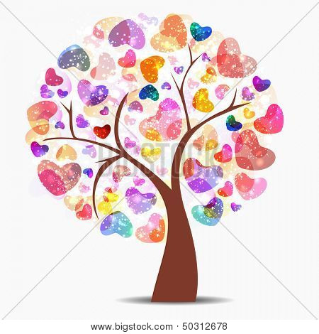 Love tree with colorful glossy hearts.