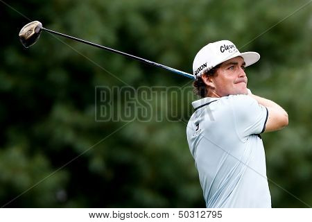 NORTON, MA-SEP 1: Keegan Bradley tees off the sixth hole during the third round at the Deutsche Bank Championship at TPC Boston on September 1, 2013 in Norton, Massachusetts.