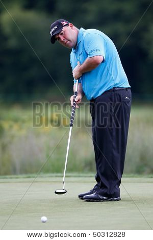NORTON, MA-SEP 1: Kevin Stadler putts the green during the third round at the Deutsche Bank Championship at TPC Boston on September 1, 2013 in Norton, Massachusetts.
