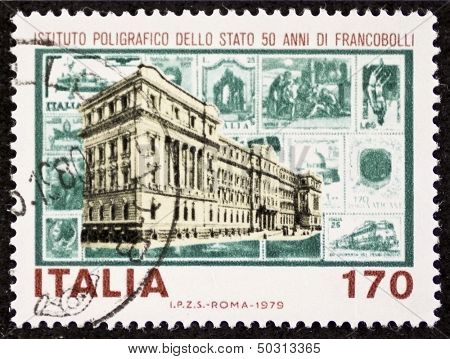 ITALY - CIRCA 1979: a stamp printed in Italy celebrates Italian State Mint and Polygraphic Institute. Italy, circa 1979