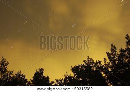 Star trails at synset time. Near Kiev,Ukrane