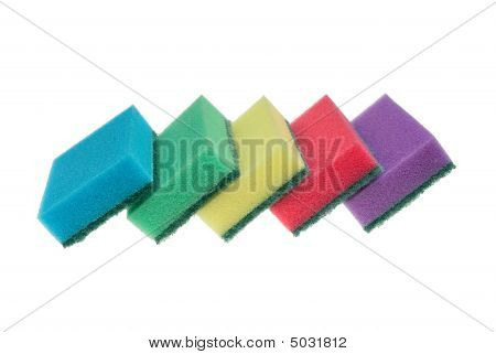 Five Kitchen Sponges Isolated