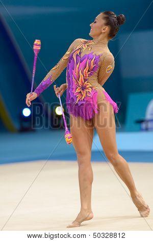 KIEV, UKRAINE - AUGUST 29: Natalia Garcia of Spain in action during the 32nd Rhythmic Gymnastics World Championships in Kiev, Ukraine on August 29, 2013