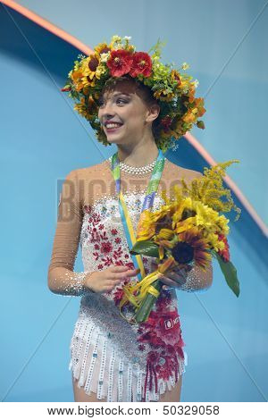 KIEV, UKRAINE - AUGUST 29: Melitina Staniouta of Belarus win bronze during the 32nd Rhythmic Gymnastics World Championships in Kiev, Ukraine on August 29, 2013