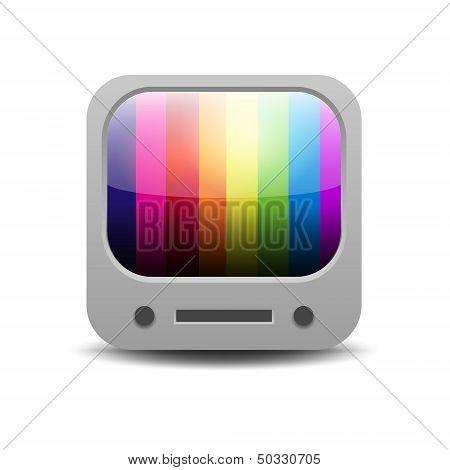 Arco-íris colorido conjunto de tv