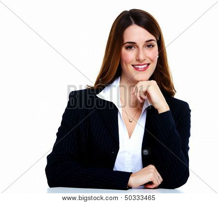 Business woman. Isolated over white background.